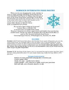 Norwich Interfaith Food Pantry flyer  December 2019